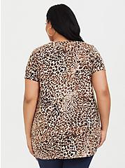 Plus Size Leopard Print V-Neck Classic Fit Tee, RAW RAWR, alternate