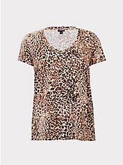 Plus Size Leopard Print V-Neck Classic Fit Tee, RAW RAWR, hi-res