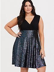 Special Occasion Black Sequin Skater Dress, , alternate