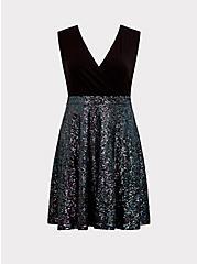 Special Occasion Black Sequin Skater Dress, , hi-res