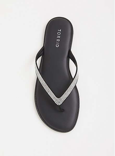Black Rhinestone Faux Leather Flip Flop (WW), BLACK, alternate
