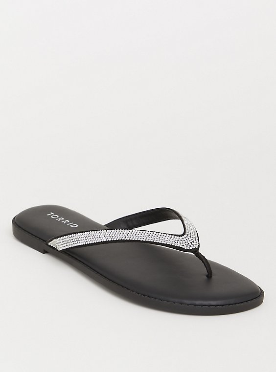 Plus Size Black Rhinestone Faux Leather Flip Flop (WW), , hi-res