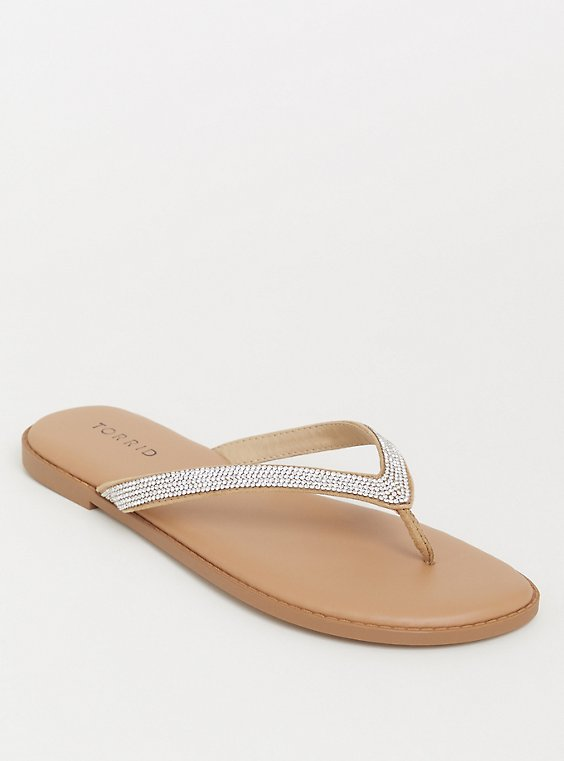Plus Size Tan Rhinestone Faux Leather Flip Flop (WW), , hi-res