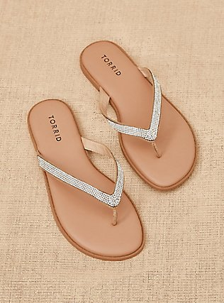 Tan Rhinestone Faux Leather Flip Flop (WW), TAN/BEIGE, pdped