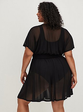 Black Mesh Dolman Dress Swim Cover Up, DEEP BLACK, alternate