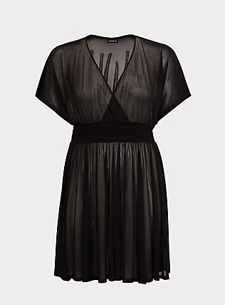 Black Mesh Dolman Dress Swim Cover Up, DEEP BLACK, flat