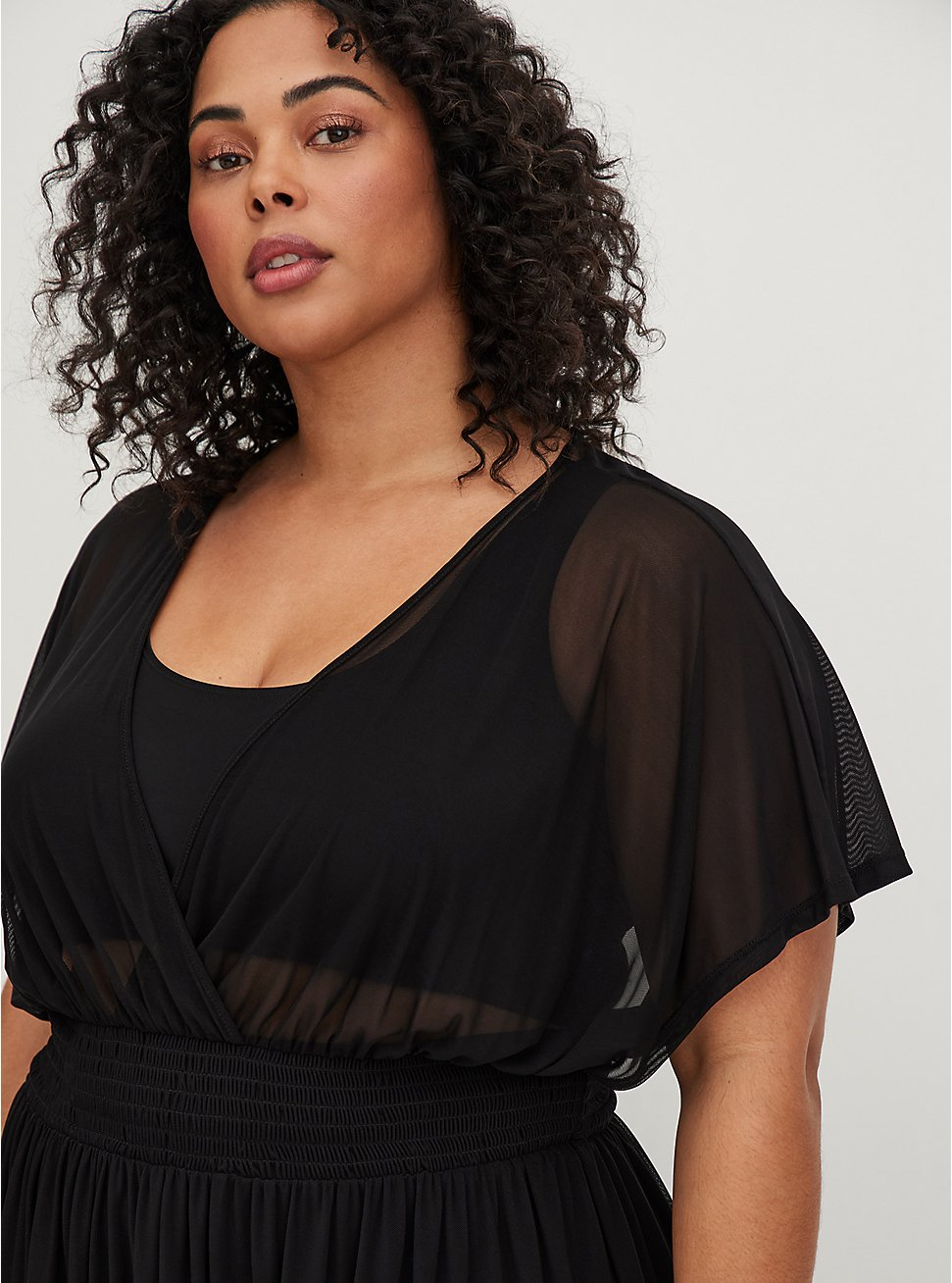 Black Mesh Dolman Dress Swim Cover Up, DEEP BLACK, hi-res