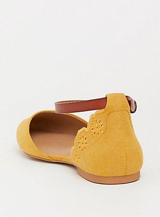 Mustard Faux Suede Scalloped Flat (WW), YELLOW, alternate