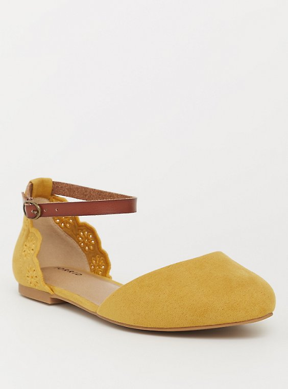 Plus Size Mustard Faux Suede Scalloped Flat (WW), , hi-res