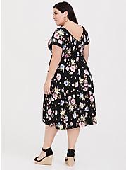 Plus Size Black Floral Challis Midi Dress, FLOWER SHOWER, alternate