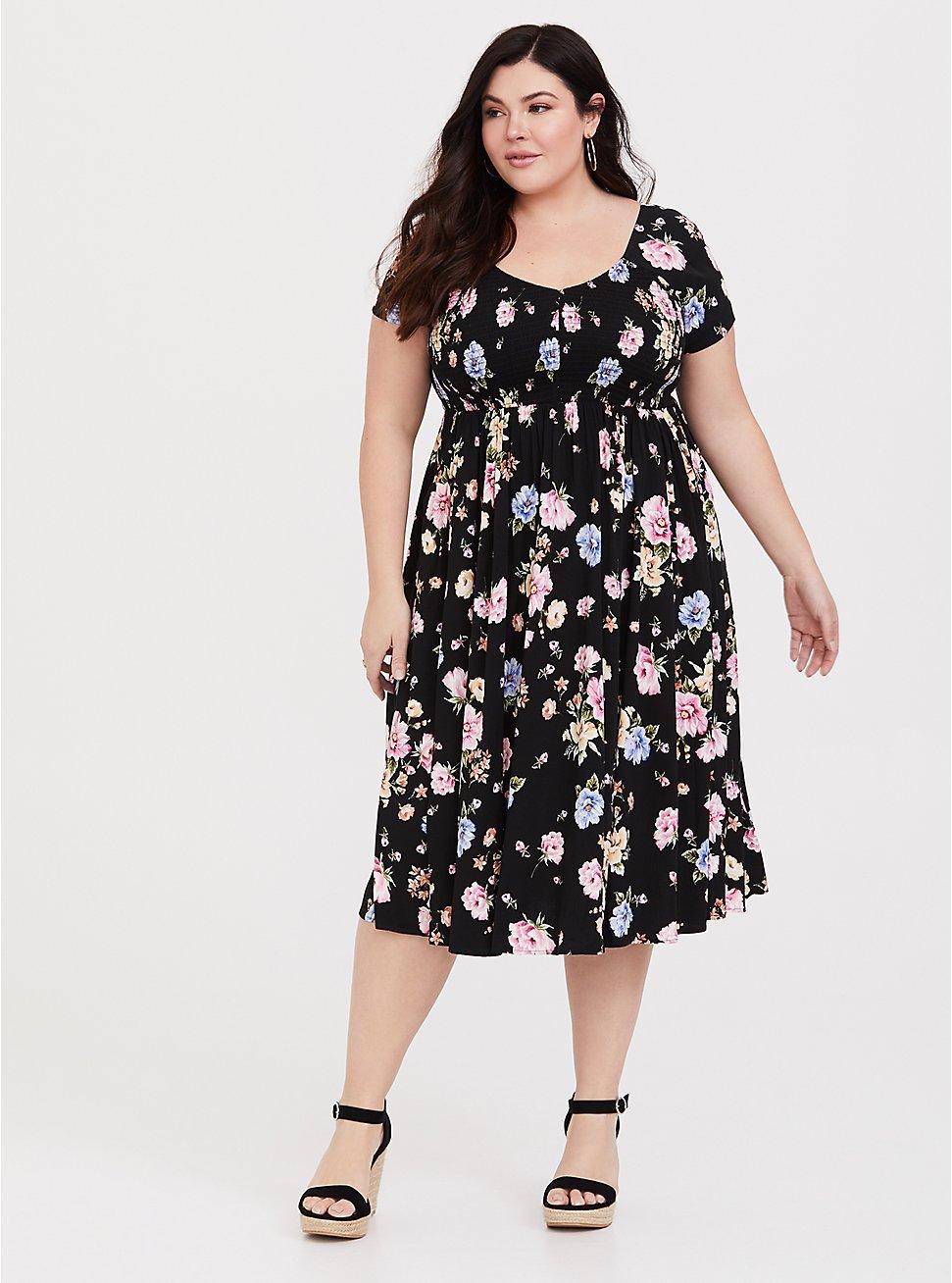 Plus Size Black Floral Challis Midi Dress, FLOWER SHOWER, hi-res