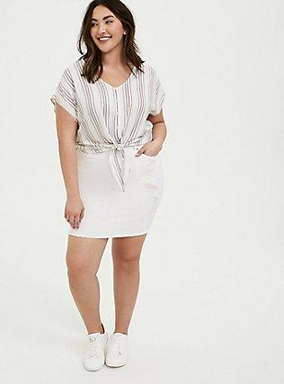 Denim Mini Skirt - Distressed White, , alternate