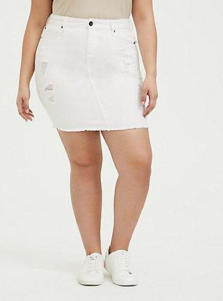 Denim Mini Skirt - Distressed White, , hi-res
