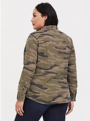 Plus Size Taylor - Camo Twill Button Front Relaxed Fit Shirt, COZY CAMO, alternate