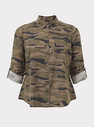 Plus Size Taylor - Camo Twill Button Front Relaxed Fit Shirt, COZY CAMO, flat