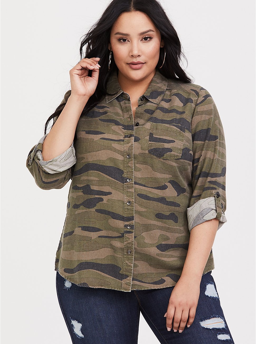 Plus Size Taylor - Camo Twill Button Front Relaxed Fit Shirt, COZY CAMO, hi-res