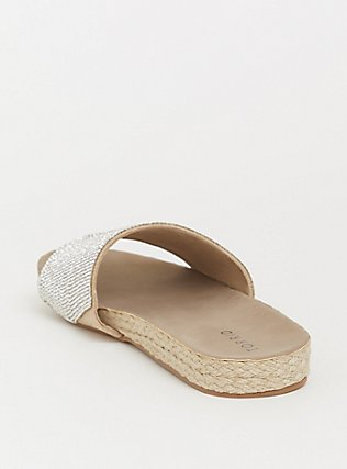 Tan Rhinestone Slide (WW), NATURAL, alternate