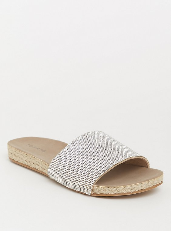 Plus Size Tan Rhinestone Slide (WW), , hi-res