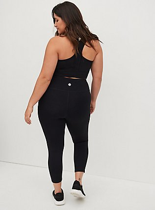 Black Crop Wicking Active Legging with Pockets, DEEP BLACK, alternate