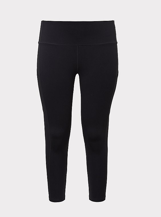 Black Crop Wicking Active Legging with Pockets, , flat