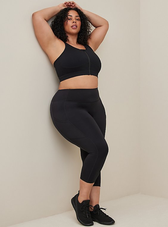 Black Crop Wicking Active Legging with Pockets, , hi-res