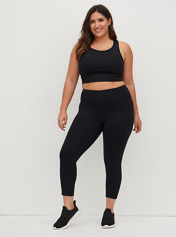 Black Crop Wicking Active Legging with Pockets, DEEP BLACK, hi-res