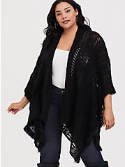 Black Open Knit Ruana, , alternate