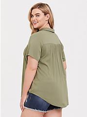 Light Olive Gree Challis Button Shirt, GREEN, alternate