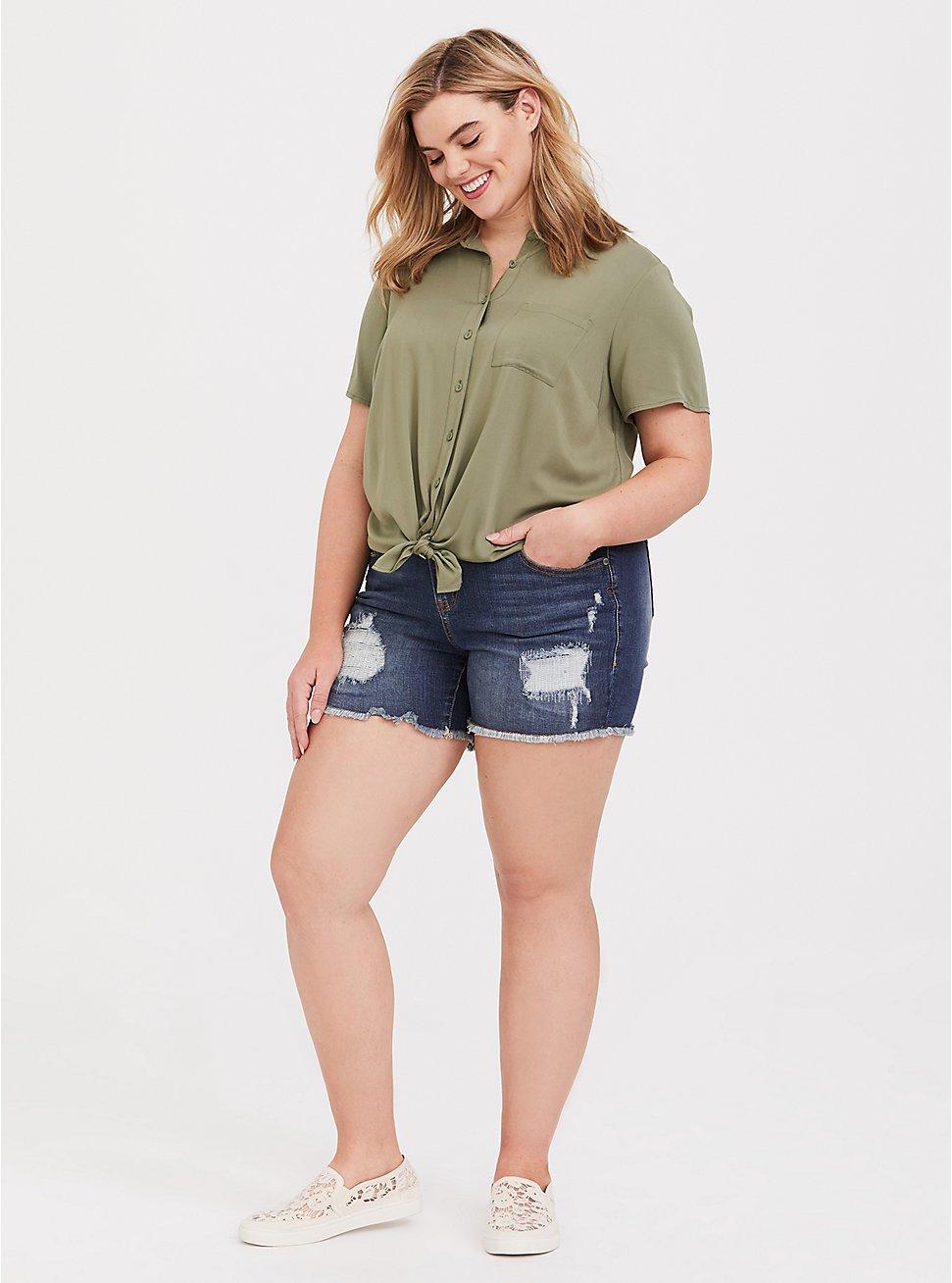 Light Olive Gree Challis Button Shirt, GREEN, hi-res