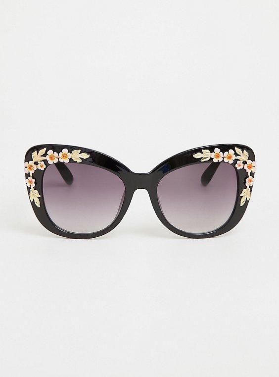 Plus Size Black Rosette Cat Eye Sunglasses, , hi-res