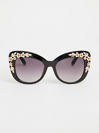 Black Rosette Cat Eye Sunglasses, , hi-res