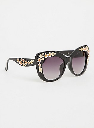 Black Rosette Cat Eye Sunglasses, , ls