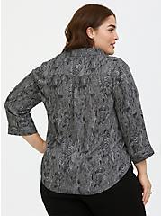 Plus Size Grey Snakeskin Print Georgette Button-Down Blouse, MULTI, alternate