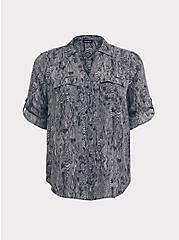 Plus Size Grey Snakeskin Print Georgette Button-Down Blouse, MULTI, hi-res