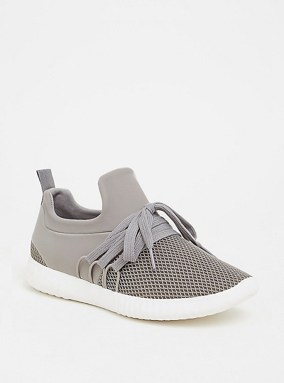 Plus Size Grey Mesh Sneaker (WW), , hi-res