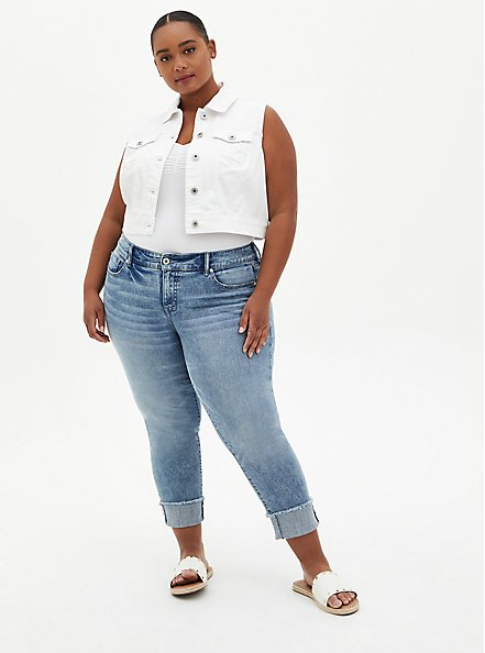 Crop Denim Vest - White, WHITE, alternate