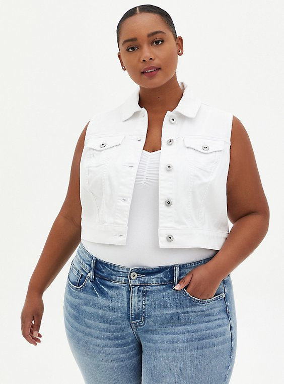 Crop Denim Vest - White, , hi-res