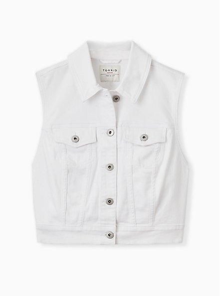 Crop Denim Vest - White, WHITE, hi-res