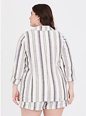 Plus Size Cream & Black Stripe Linen Blazer, , alternate