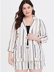 Plus Size Cream & Black Stripe Linen Blazer, , hi-res