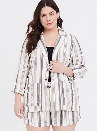 Cream & Black Stripe Linen Blazer, , hi-res
