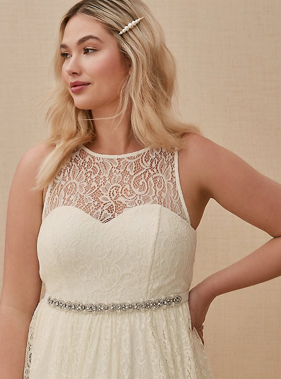 Plus Size Ivory Beaded Belt, , hi-res