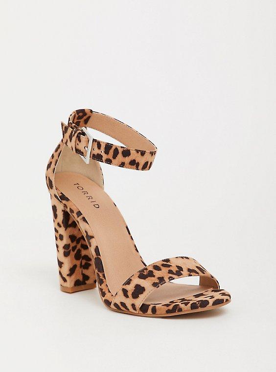 Leopard Ankle Strap Block Heel Sandal (WW), , hi-res