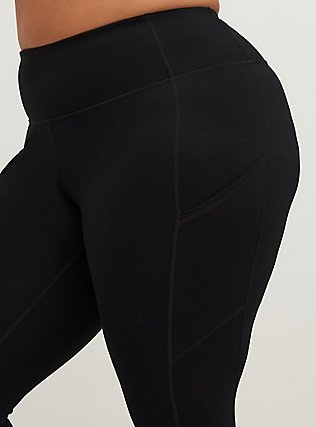 Black Wicking Full Length Active Legging with Pockets, DEEP BLACK, alternate