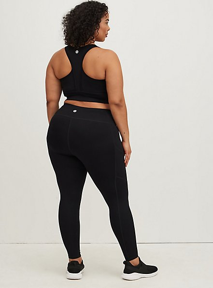 Black Wicking Full Length Active Legging with Pockets, DEEP BLACK, hi-res