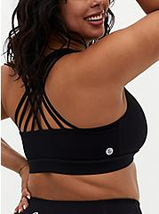Plus Size Black Strappy Wicking Sports Bra, DEEP BLACK, alternate