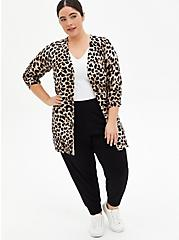 Leopard Textured Slub Boyfriend Cardigan, LEOPARD, alternate