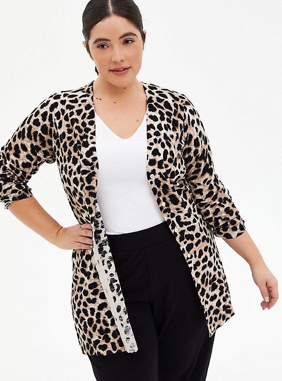 Leopard Textured Slub Boyfriend Cardigan, , hi-res