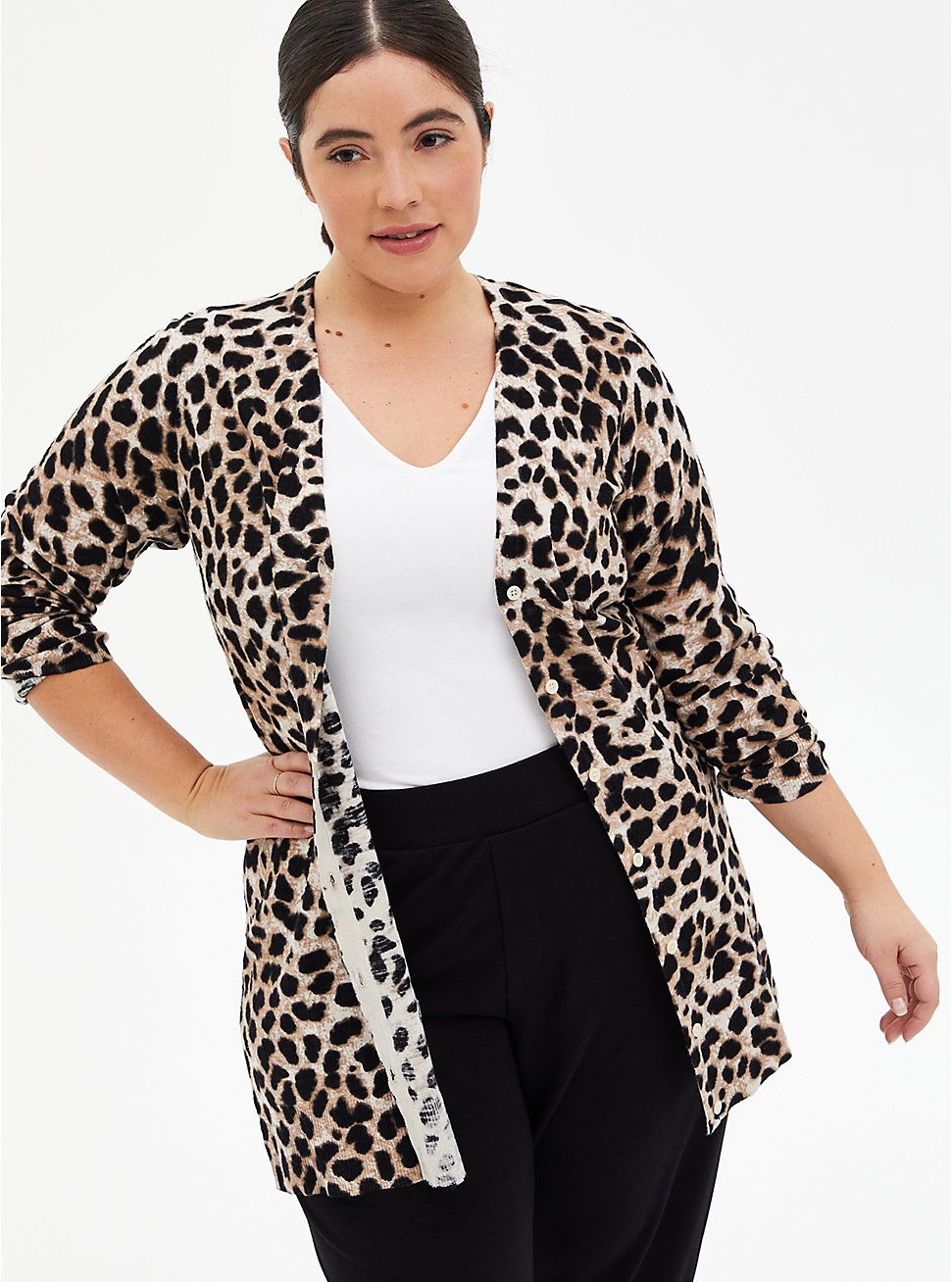 Leopard Textured Slub Boyfriend Cardigan, LEOPARD, hi-res