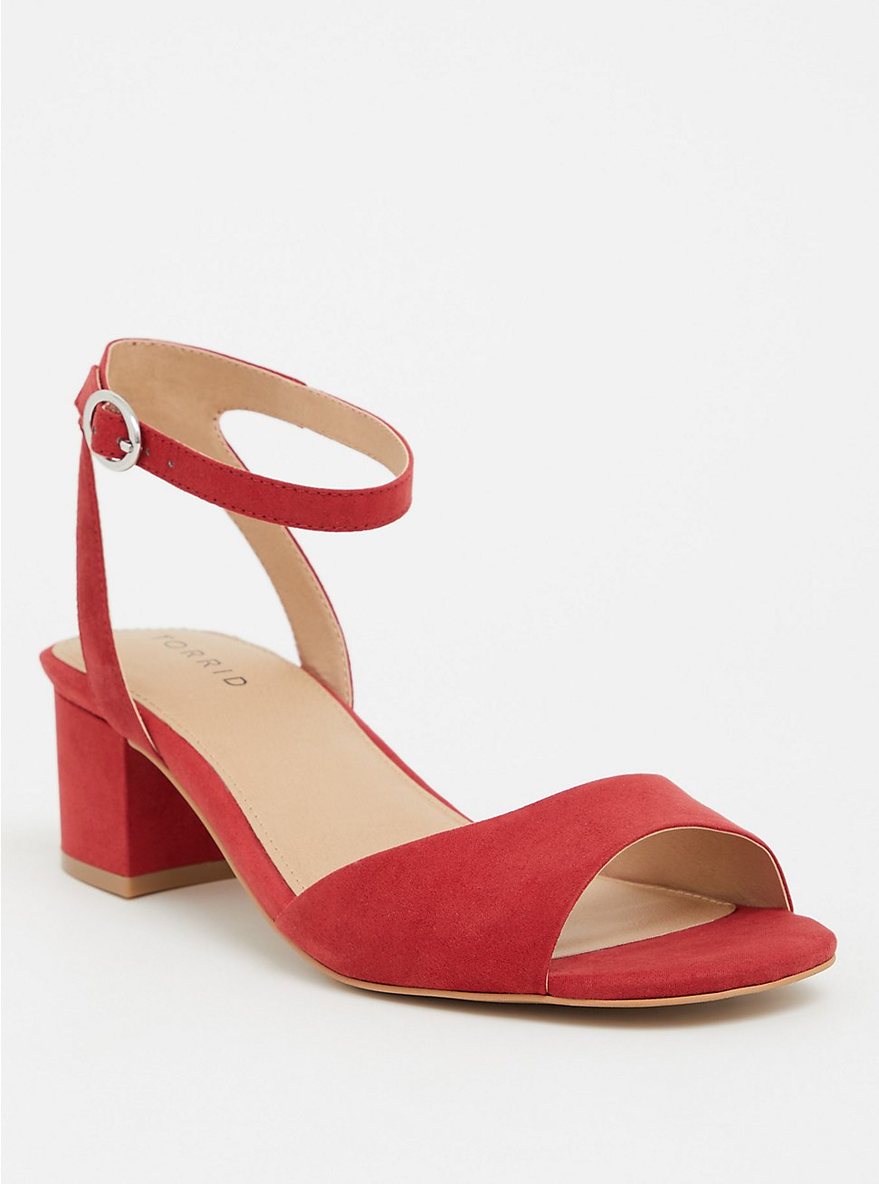 Plus Size Red Faux Suede Block Heel (WW), WINE, hi-res